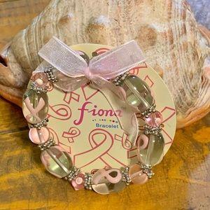 Fiona Glass Bead Breast Cancer Awareness Bracelet
